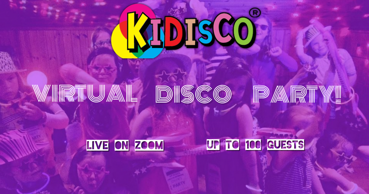 Virtual Disco Party for kids, Zoom parties for kids, childrens online parties, birthday parties online for kids